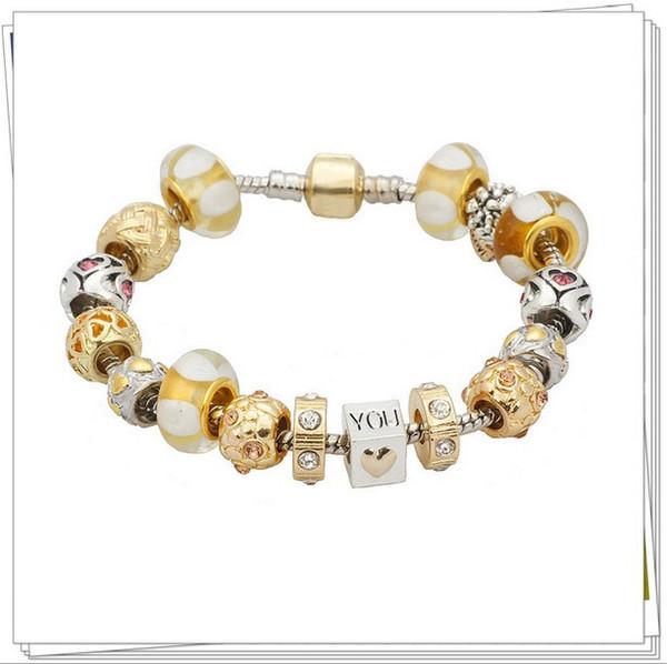 Fashion Pandora Style Charm Bracelets 18k Gold Plated Murano Glass CrystalEuropean Charm Beads Fits Bracelets Love Heart Bangles DIY Jewelry