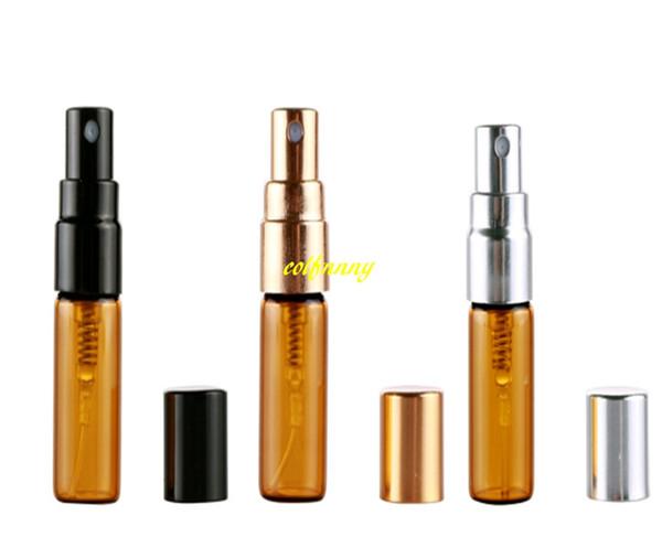 50pcs/lot Free shipping 3ML 5Ml Amber Spray Perfume Bottle Empty Brown Parfum Sample Glass Atomizer Bottles Dia 14mm