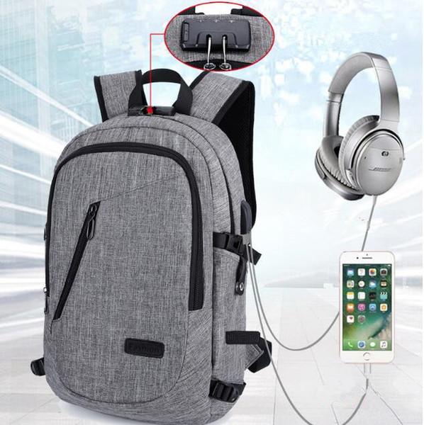 Laptop-Anti-Diebstahl-Rucksack mit USB-Lade-Kopfhörer-Schnittstelle Schultasche Unisex Anti-Diebstahl-Sperre Laptop-Umhängetasche CCA9949 20st