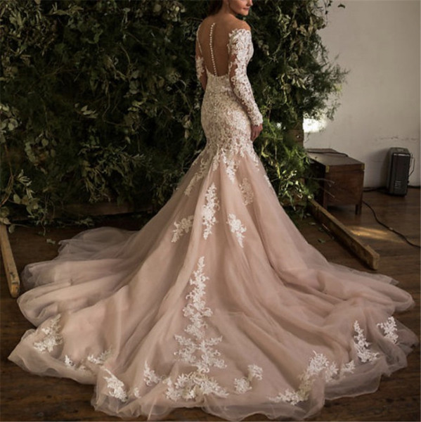 Light Pink Color With Ivory Lace Detail All Over Outside Wedding Dress Mermaid Long Sleeves Open v-Neck Bridal Gowns With Train Sheer Back
