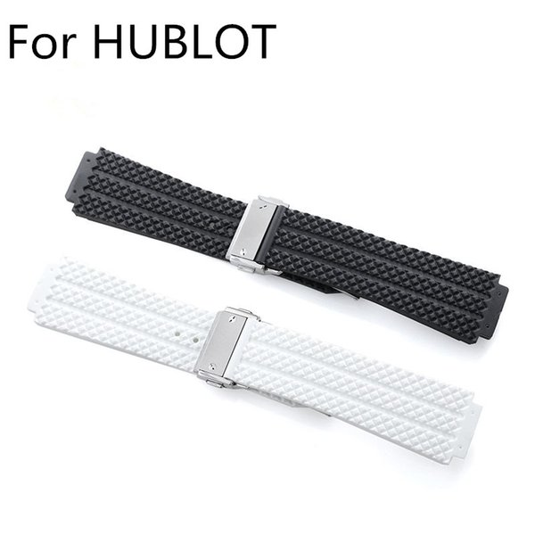 24mm 22mm Black White Natural Rubber Watch Strap Wrist Belt ,Watchband With Deployment Buckle Clasp For HUBLO Watch T With LOGO