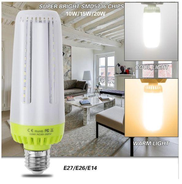 Bombillas led súper brillantes E27 E26 E14 Lámpara LED de maíz no estroboscópica 10W 15W 20W AC85-265V Luz de bajo consumo para iluminación interior