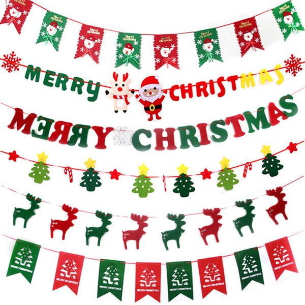 Non-woven Santa Clause Bunting Banners Xmas Flags Merry Christmas Decoration