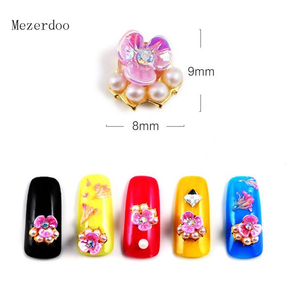 10Pcs Nail Art Peach Blossom Flower Design Mix Jewelry Gems 3D Nail Art Decoration Glitter Rhinestones Manicure Accessories