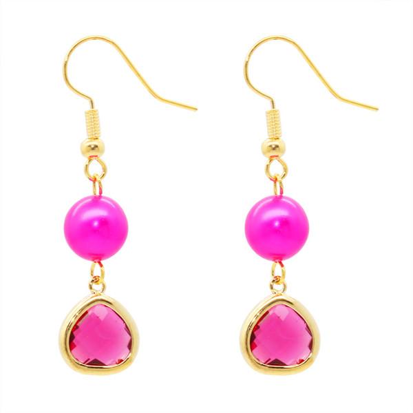 2018 moda naturale orecchini di perle d'acqua dolce 14K accessori in oro colore bordatura rubino orecchini da donna fascino vacanza