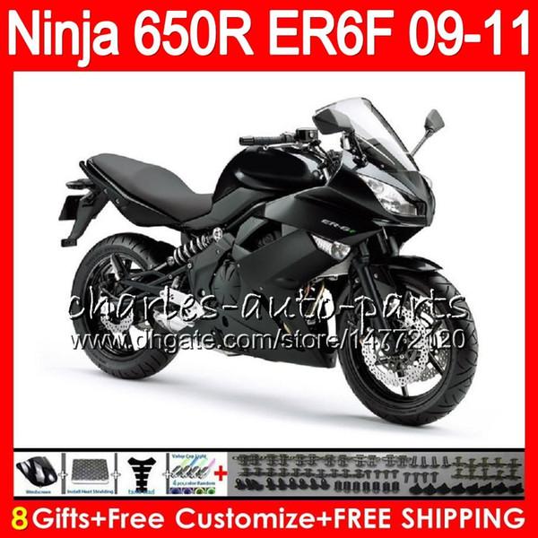 Body For KAWASAKI NINJA 650R ER 6F ER-6F 2009 2010 2011 Kit Flat black 114HM.34 Ninja650R ER6 F 650 R ER6F 09 10 11 Moto Bodywork Fairing