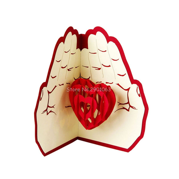3D Paper Laser Cut Pop Up Greeting Cards Creative Handmade Love in the Hand Birthday Anniversary Postcards Gift H06