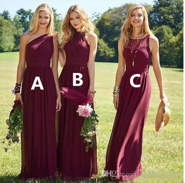 2018 Burgandy Garden vestidos de dama de honor una línea de un hombro palabra de longitud gasa vestidos de dama de honor más el tamaño de los vestidos de invitados de boda