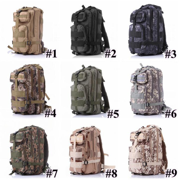 12 Colors 30L Hiking Camping Bag Military Tactical Trekking Rucksack Backpack Camouflage Molle Rucksacks Attack Backpacks Fast Ship