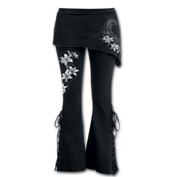 Marke Frauen Plus Größe 5XL Hose Mode Blume Gedruckt Sexy Bandage Stretch Große 4/5 Flare Hose Baumwollmischungen Hosen Schwarz D1892606