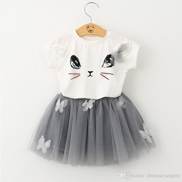 Girl T-Shirts Mini Skirt Sets 2018 New Summer Casual Style Cartoon Kitten Printed Cotton Tops+ Skirt Tutu Dress 2Pcs for Girls Clothes 2-6Y