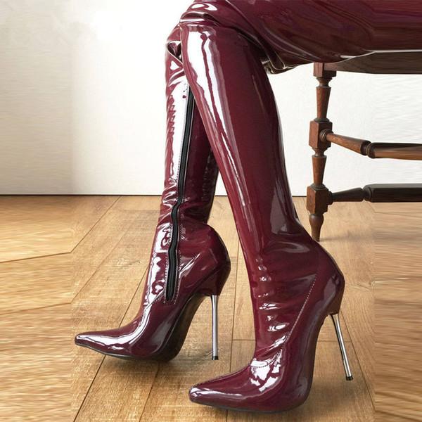 Lethal Thigh High Boots 12Cm talon en métal argenté 60cm Show personnalisé entrejambe botte verni bordeaux femme chaussures bout pointu nouveau 2018