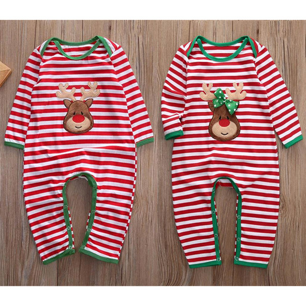 Best Deal Xmax Baby Girl Boy Clothes Pajamas Outfit Newborn Kids Christmas Bodysuit Striped Romper Rudolph Reindeer 2 Styles Winter Clothes