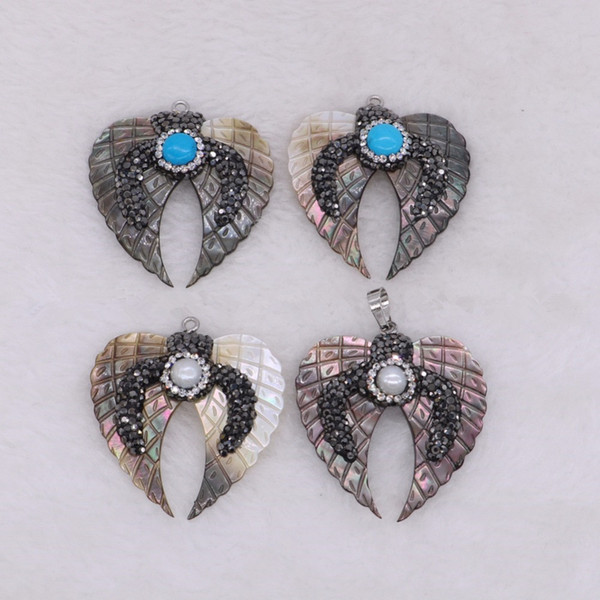 5 Pieces Unique Natural Shell Angle Wings Pendant Loose Gemstone for Women Jewelry Making Wholesale