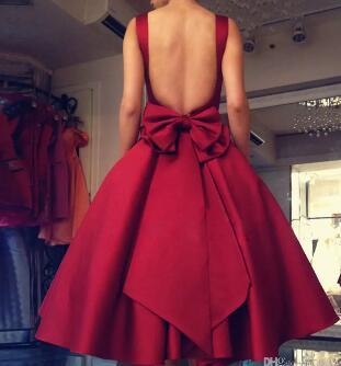 Sexy Backless 2017 Evening Dress with Bow Red Tea Length Satin Prom Gowns Sleeveles Formal Party Dress for Girl Women