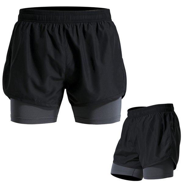 2 in 1 Mens Compression Shorts Elastic Waist Base Layer Tights Workout Shorts with pocket
