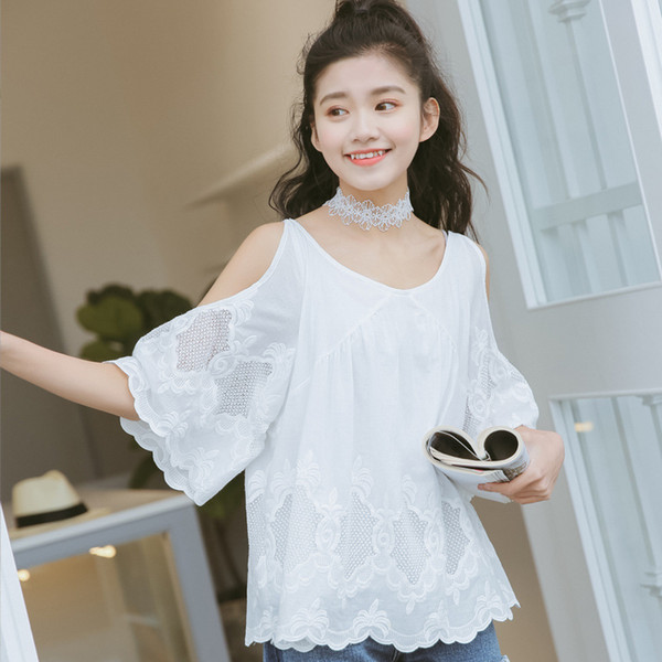 Amo She Women White Lace T Shirt Sweet Off Shoulder Embroidered Tee Schoolgirls Half Sleeve Loose Tops Office Lady Casual Top