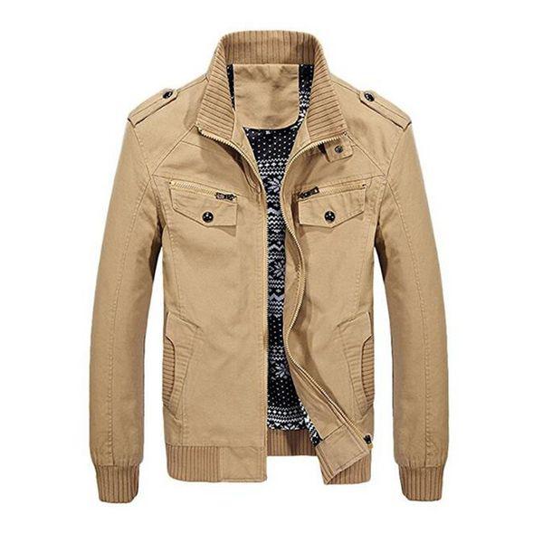 Gresanhevic New Men's Stand Collar Cotton Jacket with Shoulder Straps