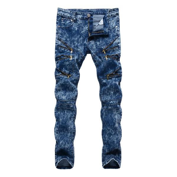 Top quality 2018 Fashion Casual slim fit Multi Zipper nightclub hip hop dance street straight blue snow men's trousers men jeans
