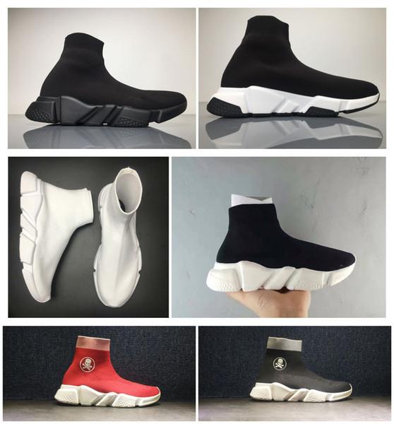 Compre Nuevo Speed Trainer Calcetines Zapatos Hombres De Alta Calidad Mujeres Triple Negro Blanco Rojo Borgoña Casual Speed Stretch Knit Mid