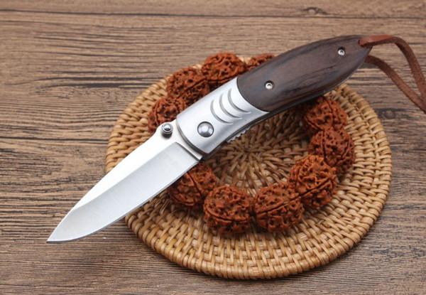 Export quality Tiger shark pocket knife ebony handle 7Cr15Mov blade tactical gear camping hunting knives EDC tool gift Xmas