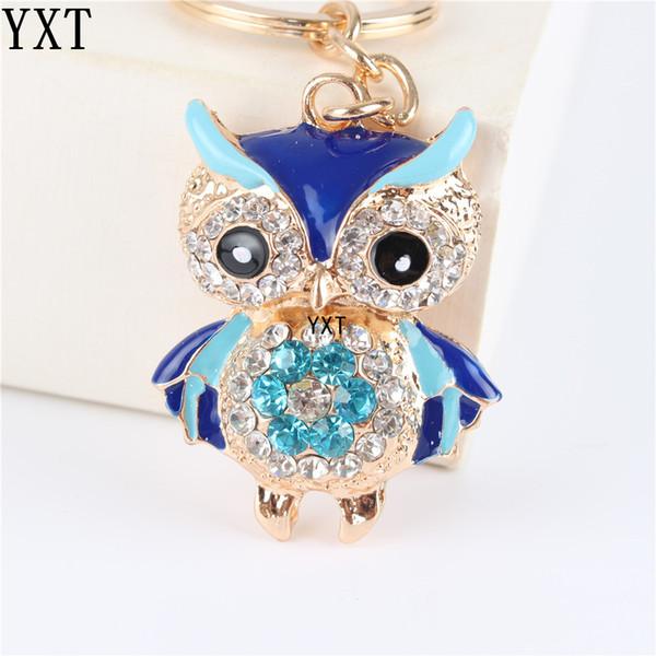 Blue Owl Bird Crystal Charm Geldbörse Handtasche Auto Schlüsselanhänger Kette Party Hochzeit Geburtstag kreative Geschenk