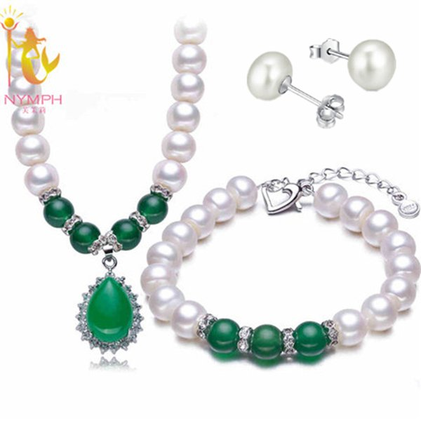 NYMPH Pearl Jewelry Set Real Fresh Water Pearl Necklace Pendant Bracelet Earrings Fine For Mother Green Agate T108