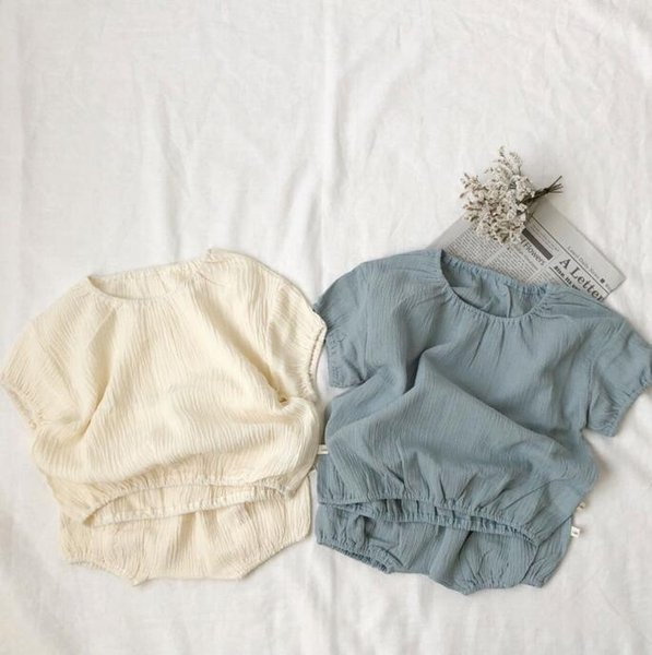 Baby Boy Clothes Children Summer Sets Boy Girl Cotton Linen Jumper tops with Short pants Fashion Kids Casual Outfits