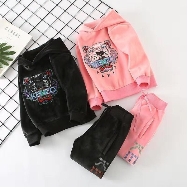 Tiger Embroidery Hoodies Stock Children's Garment Autumn And Winter Increase Down Children Leisure Time Sweater Set kids clothing