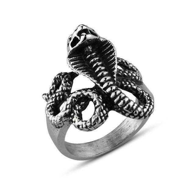 De alta qualidade legal do zodíaco cobra anel dos homens criativo punk polido titanium aço anel personalizado moda jóias 6c0760