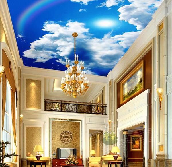 Personnalisation Soleil arc en ciel 3D Plafond Murale Papier Peint Hôtel Salon Décoration De Style Européen Papier Peint De Luxe
