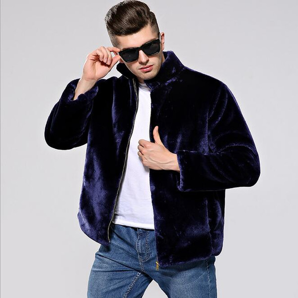 RICHARDROGER 2018 autumn and winter Korean version of the men's imitation fur mink coat short paragraph casual coat velvet large