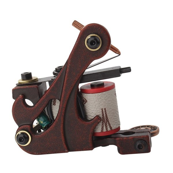 Hot Sales Coil Tattoo Machine Copper 10 Wrap Coils Steel Tattoo Frame Tattooing Gun Red for Liner Shader for Tattoo Supply