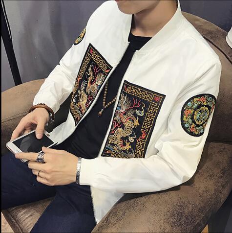 Para hombre dragón chino patrón de bordado chaqueta de bombardero de moda Slim Fit manga larga abrigo para hombre Casual Windbreaker Tops más el tamaño