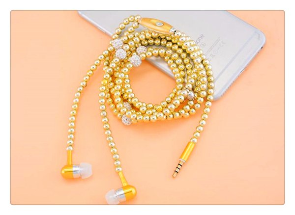 New Arrival Luxury Necklace pearl earphones wired Earphone Wearable Headphone earbuds fashion mobile phone headset with Mic