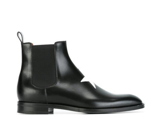 2018 nouvelle arrivée étoiles bottes hommes bottes en cuir chaussures de cheville haut haut glissement sur hommes bottes de fête point toe botas
