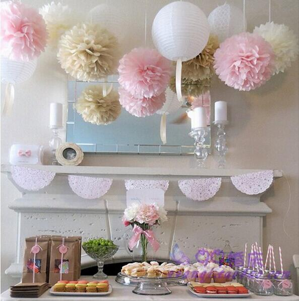 "2018 Tissue Paper Pom Poms Flower Ball Party Outdoor Decoration 6"" Wedding decorations, party decorations"