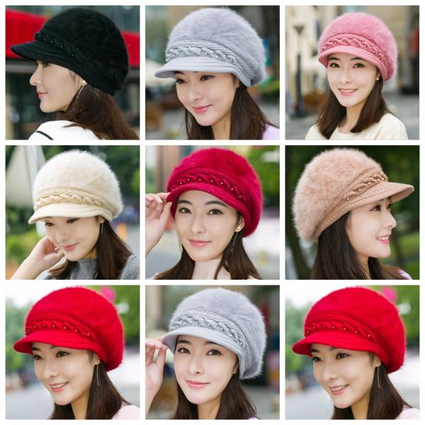 Lady Fashion Beanies Knitted Rabbit Fur Inside Wool Yarn Thickened Warm Autumn Winter Women Solid caps Hats berets GGA1291