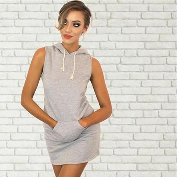Fashion 2018 Women Hoody T Shirt Dress Summer/Spring Lady Girl Sleeveless Party Dress Women's Casual Bodycon Vestidos #LH