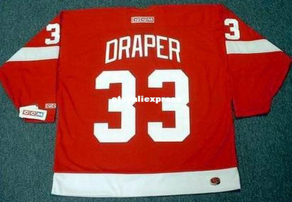 72c479d1a custom Mens KRIS DRAPER Detroit Red Wings 2002 CCM Jerseys Away Cheap Retro  Hockey Jersey