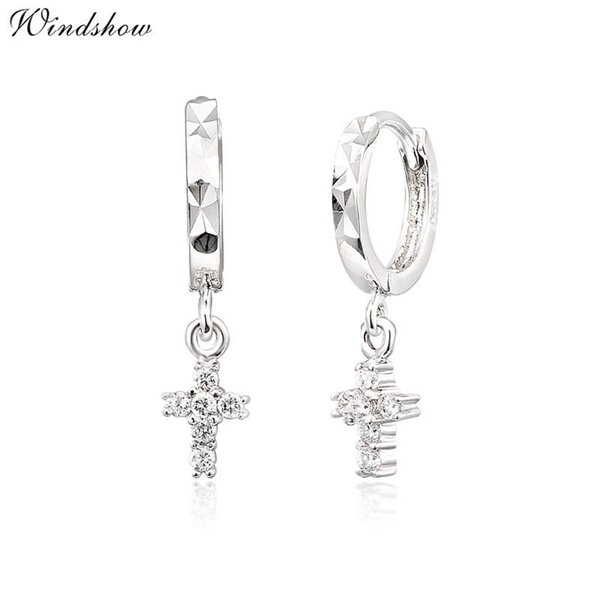 Wholesale- Real 925 Sterling Silver CZ Cross Charm Drop Small Circle Huggies Hoop Earrings Cute Jewelry For Women Girls Kids Children Gift