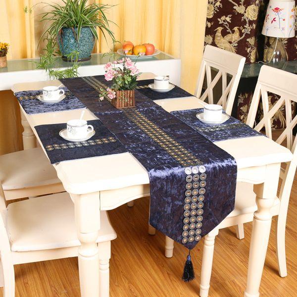 Crystal Strip Animal Luxury velvet diamond head Table runner placemats fabric coffee table flag bed runner