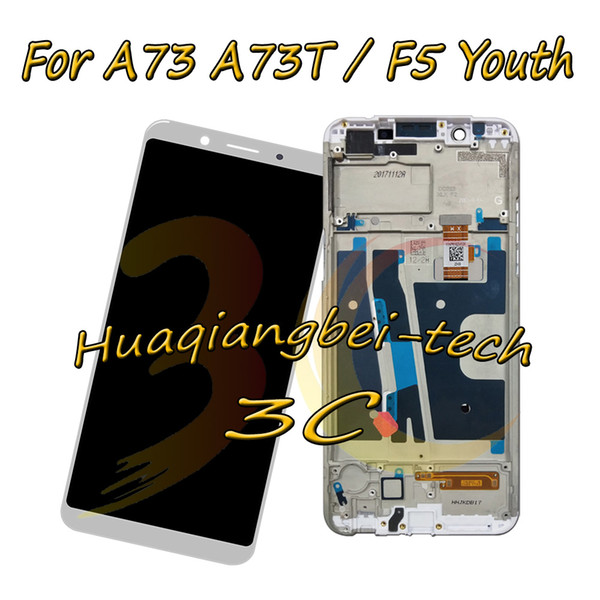 New 6.0'' For OPPO A73 A73T / F5 Youth Full LCD DIsplay + Touch Screen Digitizer Assembly With Frame Black / White 100% Tested