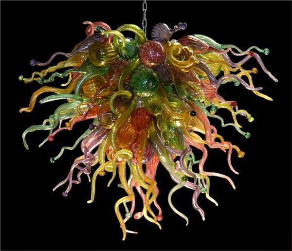 Luz de araña de cristal de lujo Precio barato Tamaño pequeño Fuente de luz de ahorro de energía hecha a mano de vidrio soplado Colgante Lámparas de araña