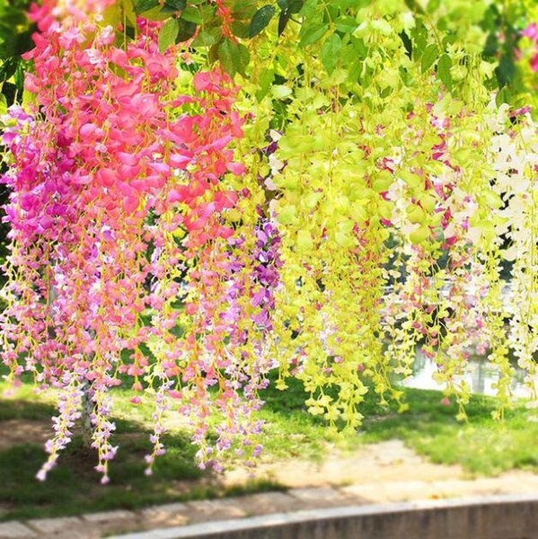 Wisteria artificial flor pendurada videira rattan flor planta arranjo de flores de seda casa de casamento quarto sala de estar decoração