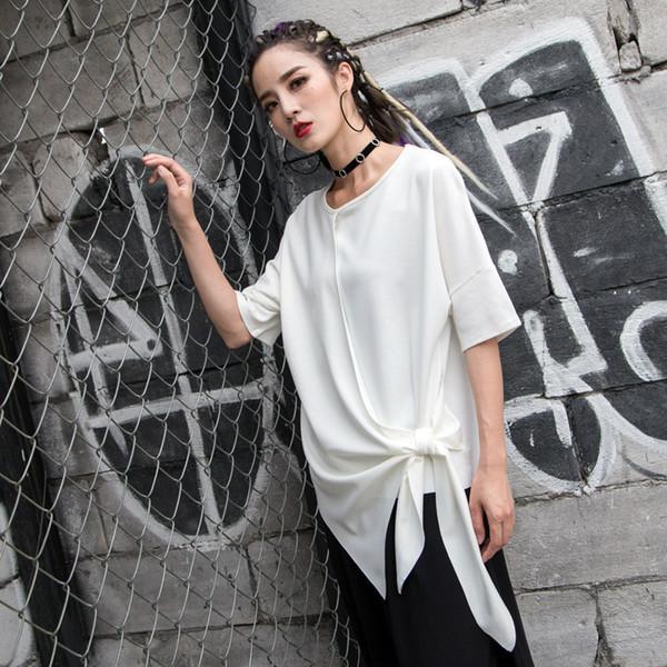 QLZW 2018 Spring Summer New Pattern O-neck Short Sleeve Belt Bow Irregular Stitching Ladies Fashion Solid Color Shirt BA976