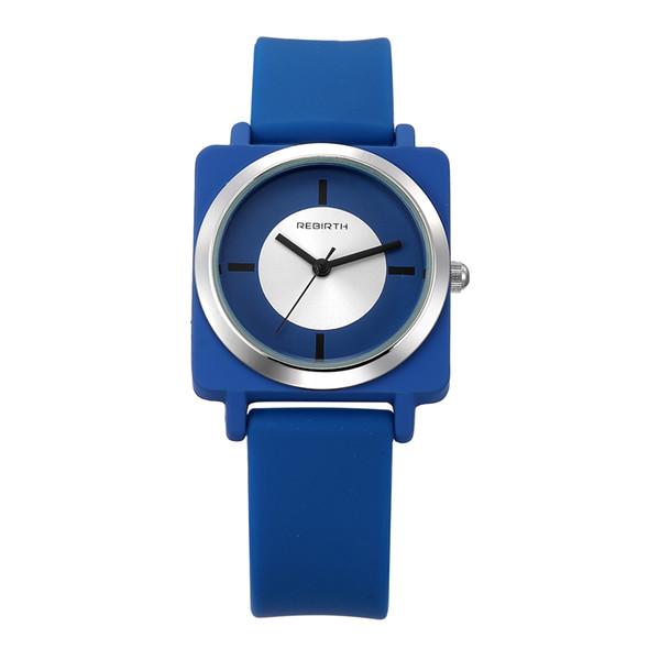REBIRTH Perfect Gift relojes mujeres Deportes de Ocio Candy color jalea de cuarzo Reloj de silicona Correa Square señoras pulsera reloj
