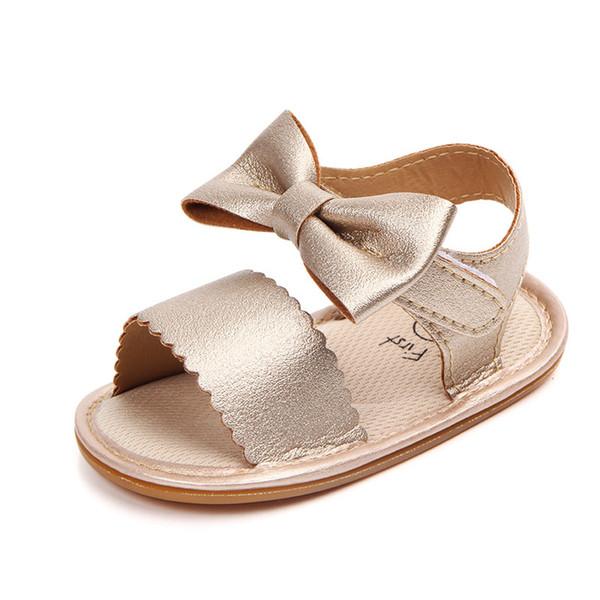 magasin en ligne 11ded 0f519 Acheter Mode Bébé Sandales Pour Filles En Cuir PU En Caoutchouc Bébé Été  Chaussures Enfant Sandales Sandales Anti Slip Bow Bébé Fille Chaussures ...