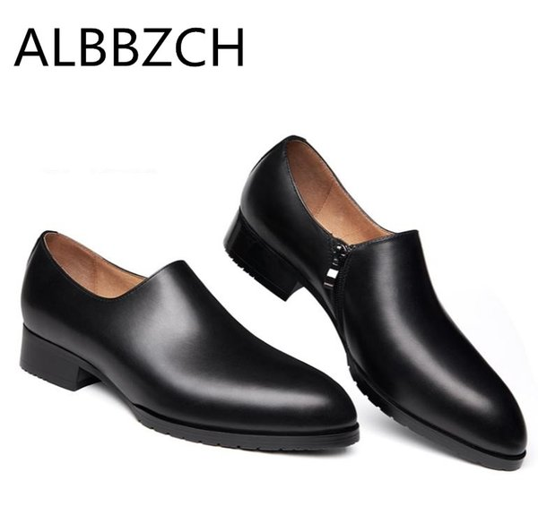 New pointed toe genuine leather men shoes casual fashion design mens business dress shoes men career work dance size 36-44