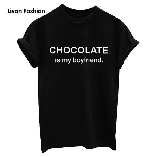 Tee-shirt Femme Tee-shirt Été Au Chocolat Est Mon Petit Ami De La Mode Lettre Casual Haut Noir Drôle Blanc T-shirt Hc - Tt7009